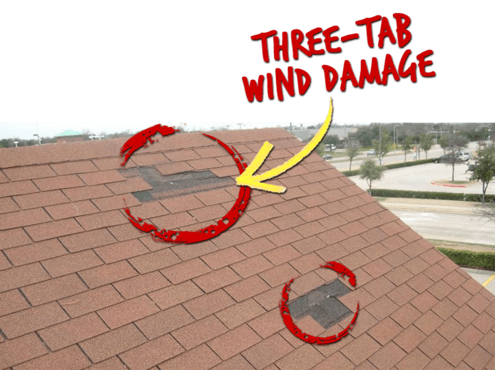 Three-tab wind damage on roof of house