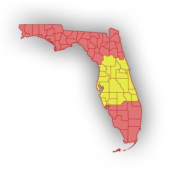 Florida Map in Red